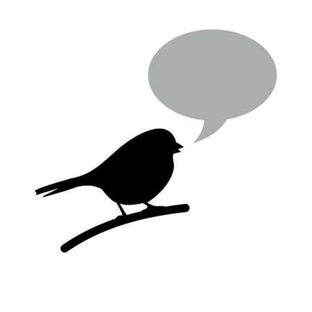 Black bird with speech bubble 일러스트