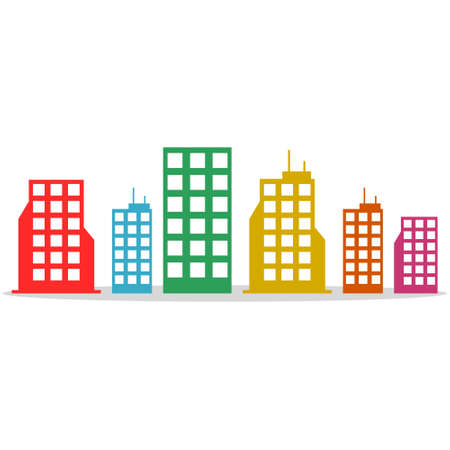 Colored buildings, Flat style