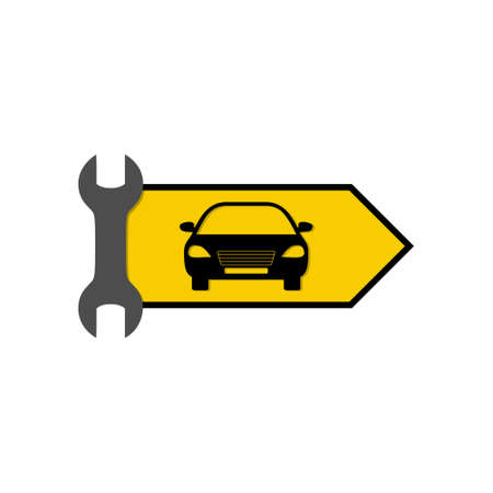 Auto service icon, Yellow sign with car, wrench and arrow