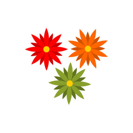 Three flowers decoration, flowers icon