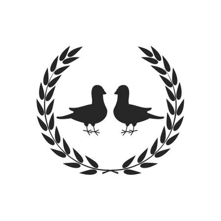Two doves simple icon, two pigeons logo