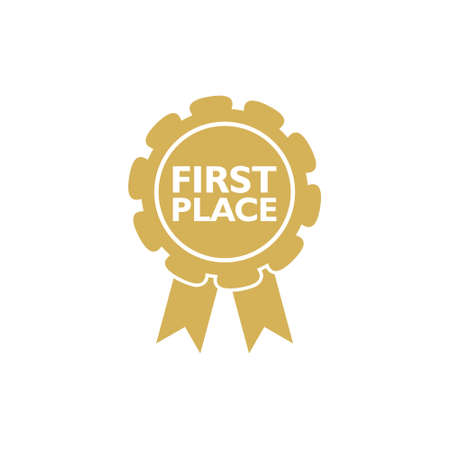 First place win gold badge icon or sign