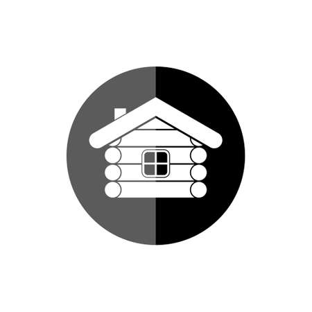 Wood log house icon, wooden hut icon