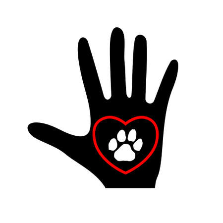 Love Animals icon, hand, heart and paw