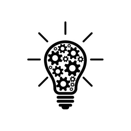 Light bulb with gears icon