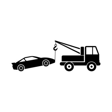 Car tow service, 24 hours, truck , isolated icon on white background