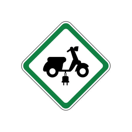 Electric scooter allowed, green road sign