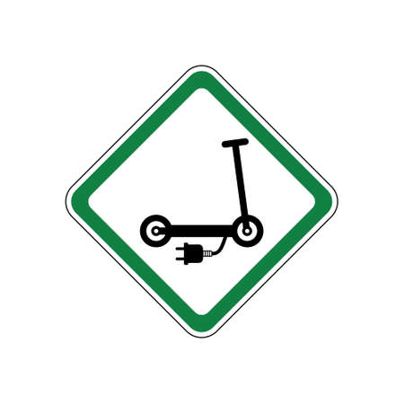 Electric scooter allowed, green road sign Vecteurs