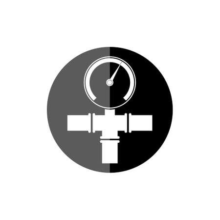 Pipeline gauge black round icon