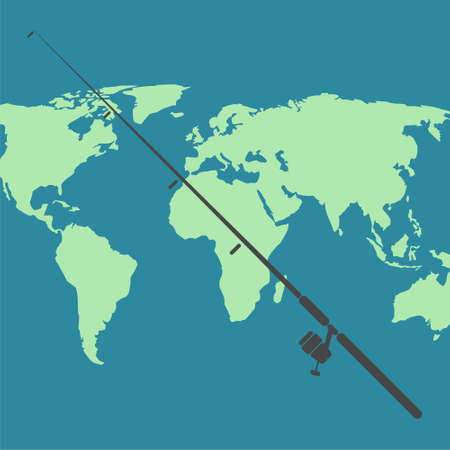 Fishing rod icon with world map