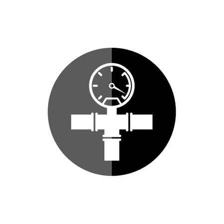 Pipeline gauge black round icon