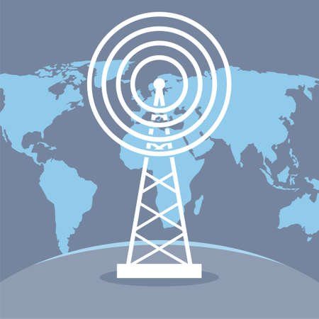 Radio tower transmitter and world map Ilustração