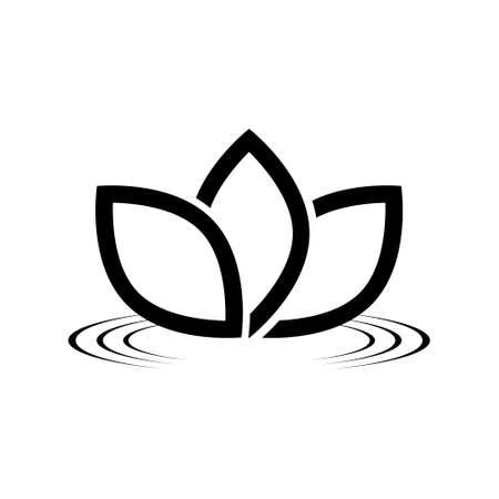 Zen lotus on water icon vector.
