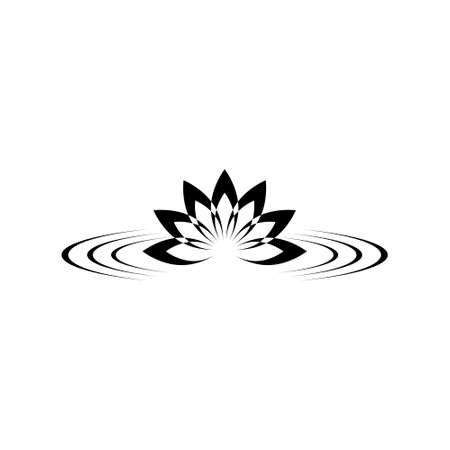 Zen lotus on water icon or logo