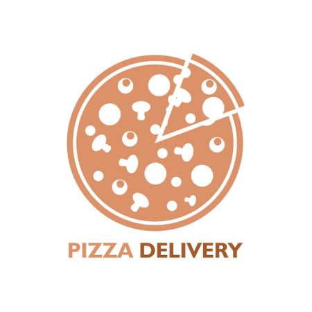 Creative pizza picture, Pizza delivery icon Illustration