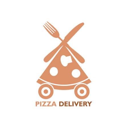 Creative pizza picture, Pizza delivery icon 向量圖像