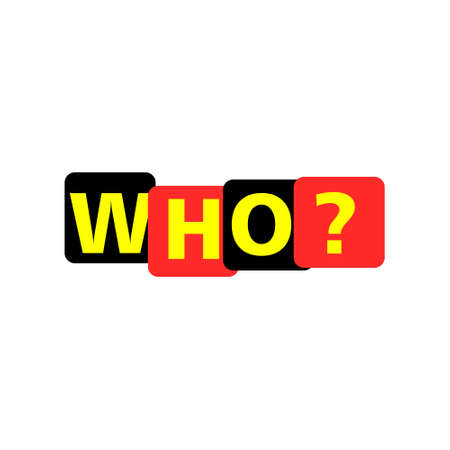 WHO? word, Overlapping Letters Icon 向量圖像