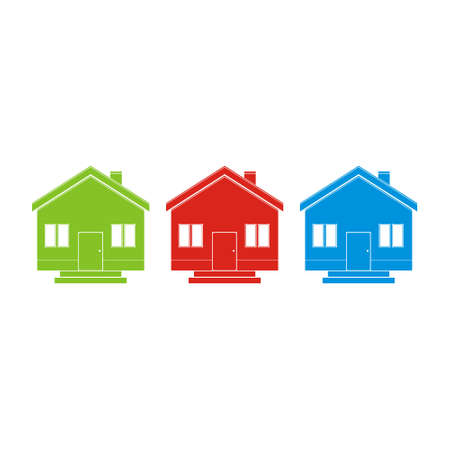 Three differently colored houses, icon, sign