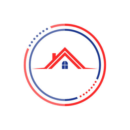 Color Roof house logo icon 矢量图像