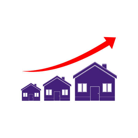 Upward arrow and houses icon sign logo