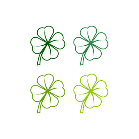 Leaf clover isolated on white background, four shades of green