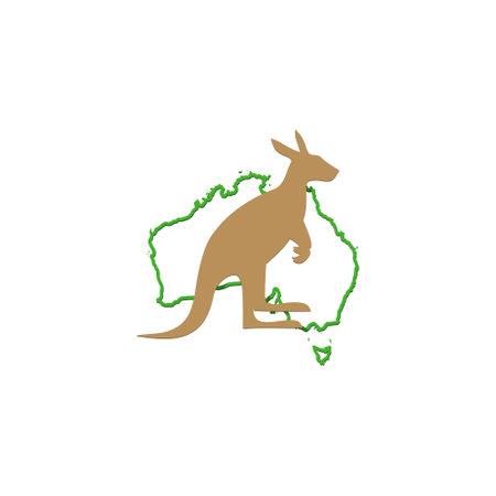 Kangaroo and Australia Map  Design  イラスト・ベクター素材
