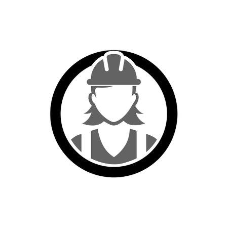 Construction worker icon, female service person profile avatar