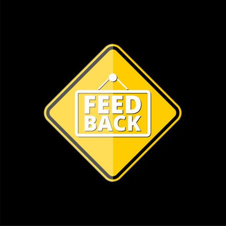 Feedback yellow web icon on black background Ilustrace
