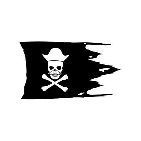 Old pirate flag simple illustration Illustration