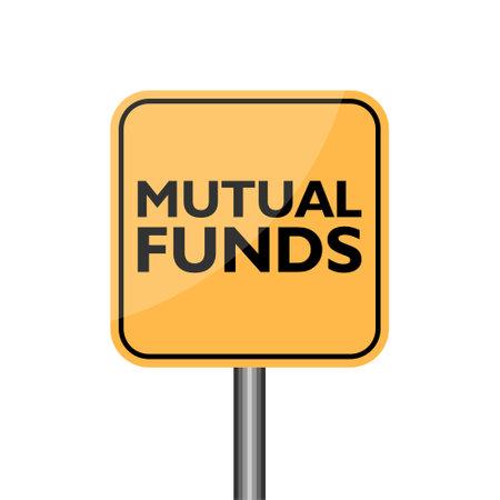 Yellow Warning Mutual Funds Road Sign