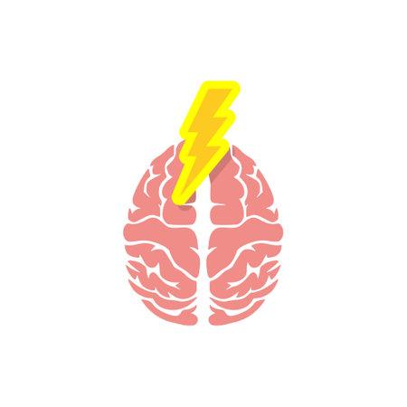 Brain human organ with lightning bolt Vector Illustratie