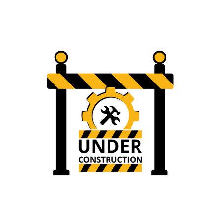 Under construction sign, icon, symbol, button Vetores