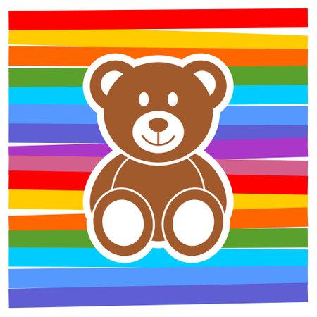 Cute teddy bear, color background