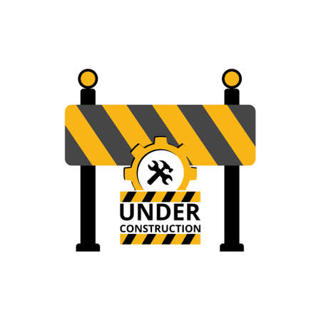 Under construction sign, icon, symbol, button Stock Illustratie