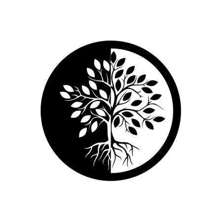 Tree of life icon, sign,  button, illustration with tree and roots silhouette Stock Illustratie