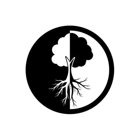 Tree of life icon, sign,   button, illustration with tree and roots silhouette