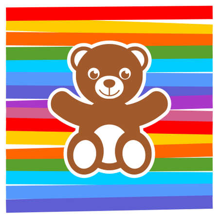 Cute teddy bear, color background Stock Illustratie