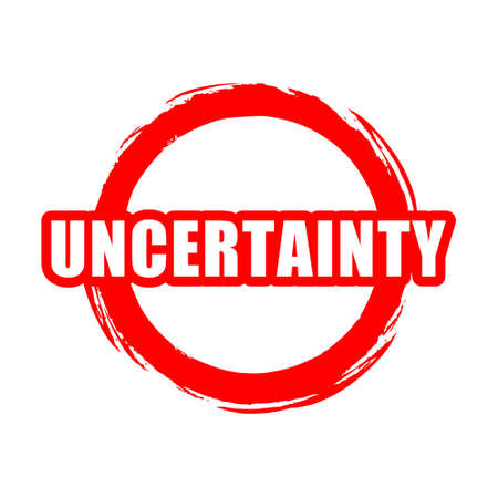 Red Uncertainty button, sign, icon