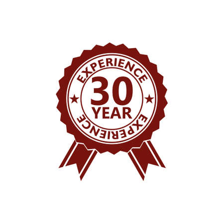 Label seal of 30 Year experience, 30 years experience red label Stockfoto - 162140294