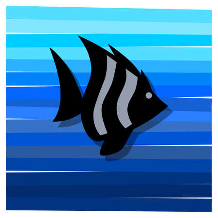 Sea underwater with fish silhouette icon