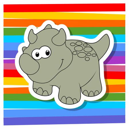 Cute cartoon dinosaurs on color background