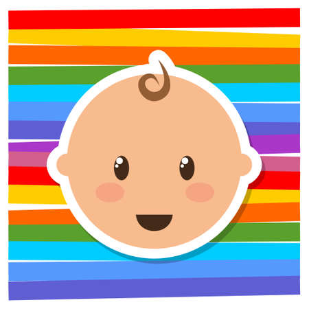 Cute little baby head  icon, sign