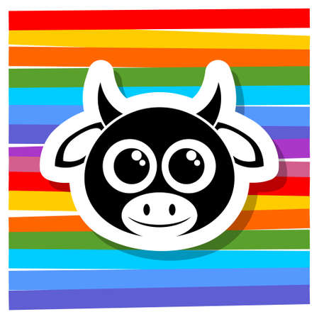 Cute cow cartoon icon,  sign