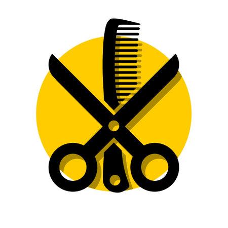 Scissors comb hair salon illustration