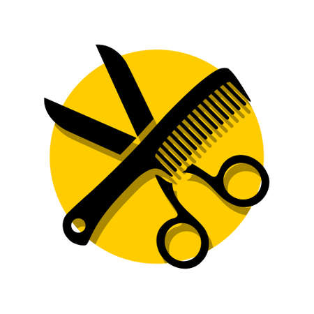 Scissor and Comb icon   simple illustration