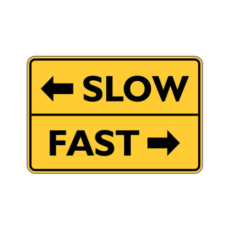 Fast or slow road sign Stock Illustratie