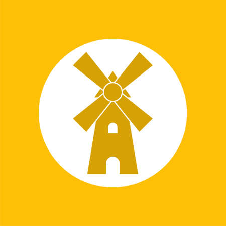 Yellow Wind Mill icon in circle