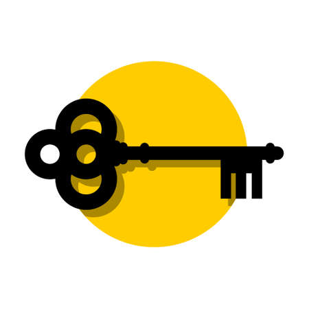 Old key icon,  sign, simple illustration