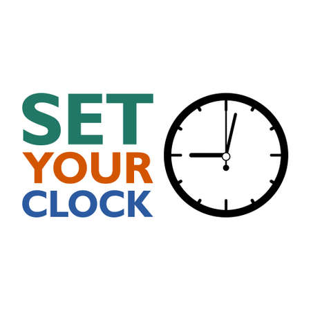 Set your clock sign, icon illustration