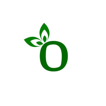 Letter O logo with green leaf modern design